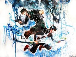 Ao no Exorcist : Yukio and Rin by Shumijin