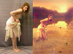 .In the autumn lake Before-After. by larosaperlata