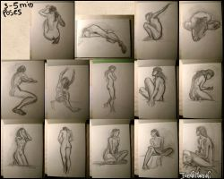 Nude model sketches by IreneMartini