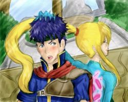 Ike and Samus by LunyaArc