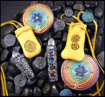 Clay Gemstone and Leather Creations by andromeda
