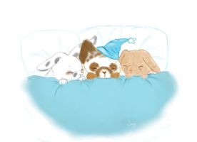 Contest Entry - 3 Sleeping Bunnies by autumnechoes