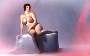 Seated Classic Full Figured Nude by art-spot