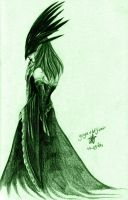 lady in  ballgown -green by daisyamnell