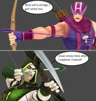 Injustice: Hawkeye vs Green Arrow by xXTrettaXx