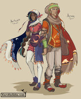 Desert Characters - Aroon and Artemis by EvilQueenie