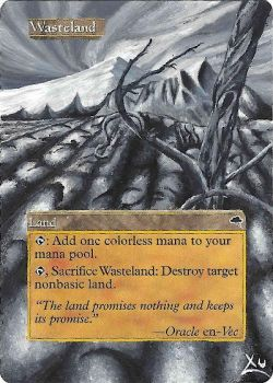 MTG Altered Art: Wasteland - Black and White by LXu777