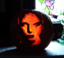 Jonathan Rhys meyers _ Carved Pumpkin 1 by Queensrain