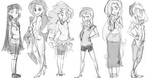 Mane 6 Line-Up by thelivingmachine02