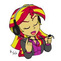 Sunset Shimmer working Call Center by mayorlight