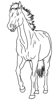Horse with mouth open Lineart PUBLIC DOMAIN by Allicorn