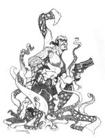 Hellboy vs. The Tentacles by voya