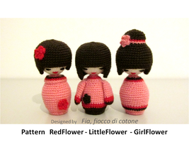 3 flowers , kokeshi doll amigurumi by cottonflake