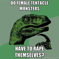 Philosoraptor on tentacle monsters by quamp