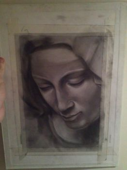 Michelangelo's Pieta Charcoal and Chalk Study by Ash-88
