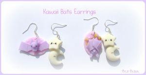 Kawaii Bats Earrings by Bojo-Bijoux