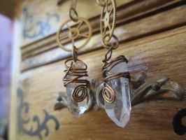 small steampunk crystal earrings by luzilla