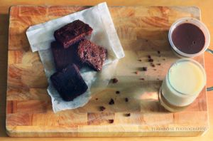 Chocolate Brownies and Milk by FlabnBone