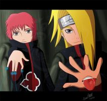 Akatsuki Deidara and Sasori by TussenSessan