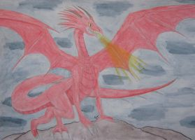 Red Dragon Watercolour by Quina-chan