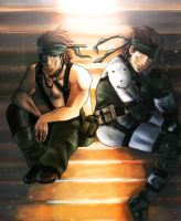 big boss and solid snake by upside-soul27