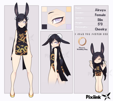 Airaya the Elin - Reference Sheet by PixiInk