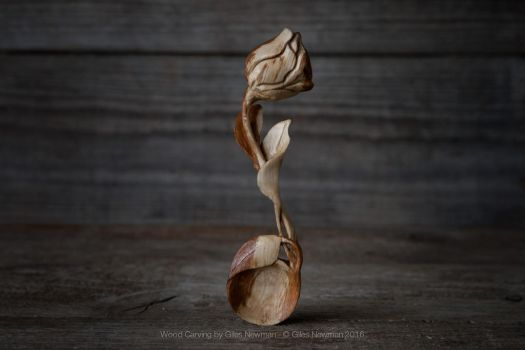 Hand Carved Oak Rose Spoon by Giles-Newman-Carving