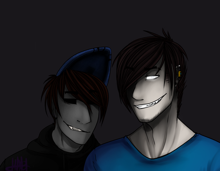 Redraw:Eyeless Jack and Brian(Herobrine) by SellHero