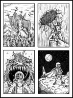 Artist Trading Cards 1-4 by brandonolterman