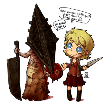 Chibi Rose and Pyramid Dude and Anna by sachsen