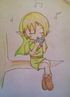 Link playing ocarina by TheSparkledash