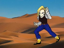 Android 18 in the desert by razzmatazz360