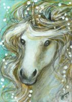 Luminous - Unicorn ACEO by BlackAngel-Diana