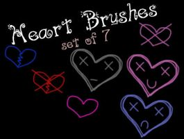 Heart Brushes - Set of 7 by data-7-panther-dude