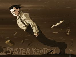 Buster Keaton in Steamboat Bill Jr. II by drawlequin