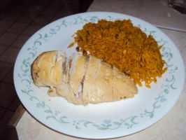 Yellow rice with stuffed chicken by TiffinyT