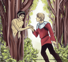 Prince Arthur and Merlin the dryad by zerda-vulpes