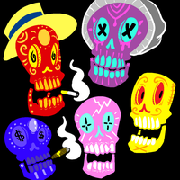 Colorful calavera 2 by JaxASDF