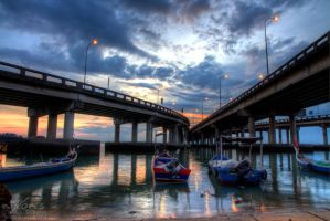 Sunrise of Penang bridge - The fishing boats 4 by fighteden