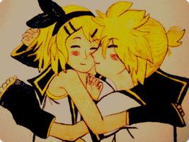 Rin and len snuggle edit by Nellers500