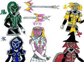 Kamen Rider Magica and 4 styles by dyingwill3rd