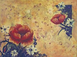 Poppies and Dog wood Blossoms by MissAcoustic