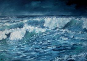 Blue green & white oil Paint by Boias
