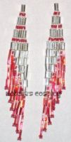 Red and Silver Stripe Earrings by Natalie526