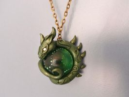 Green Marble Dragon Necklace - polymer clay art by RegnumLaternis
