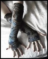 Twilight Moth Long Arm Warmers by ZenAndCoffee