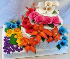 Rainbow's End gumpaste flower cake by SewAmusing