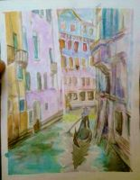 First Watercolour Scene Ever- Venice Canal by topistops