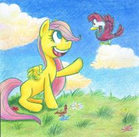 Fluttershy's childhood by IcebergLonely