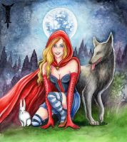 Red, Wolf, and Rabbit by TrollGirl